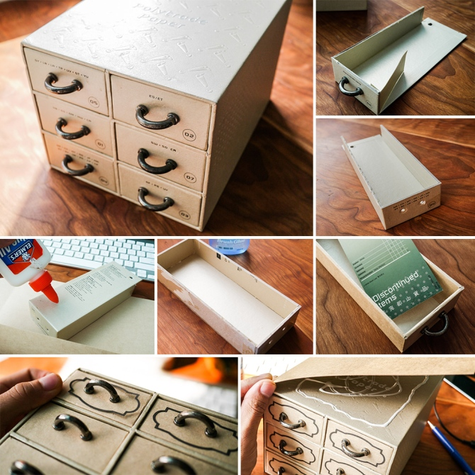 Transform a paper sample box into a drawers set.