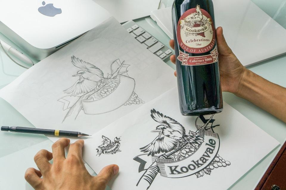 Red wine label design34